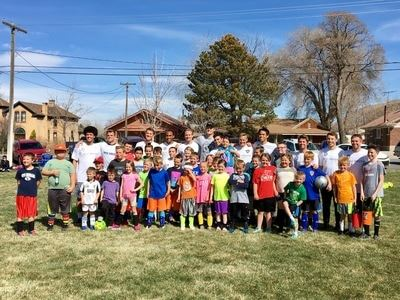 group photo at youth soccer camp